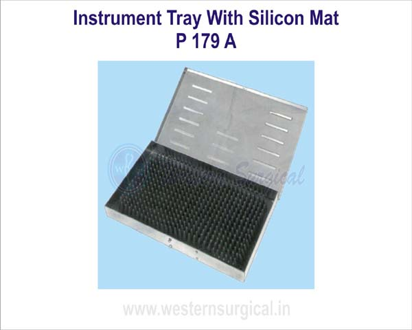 Instruments tray with silicon mat